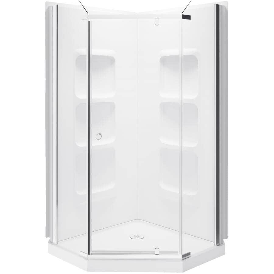 "A&E BATH AND SHOWER:38"" Jonas Acrylic Neo Angle Corner Shower Cabinet - White"