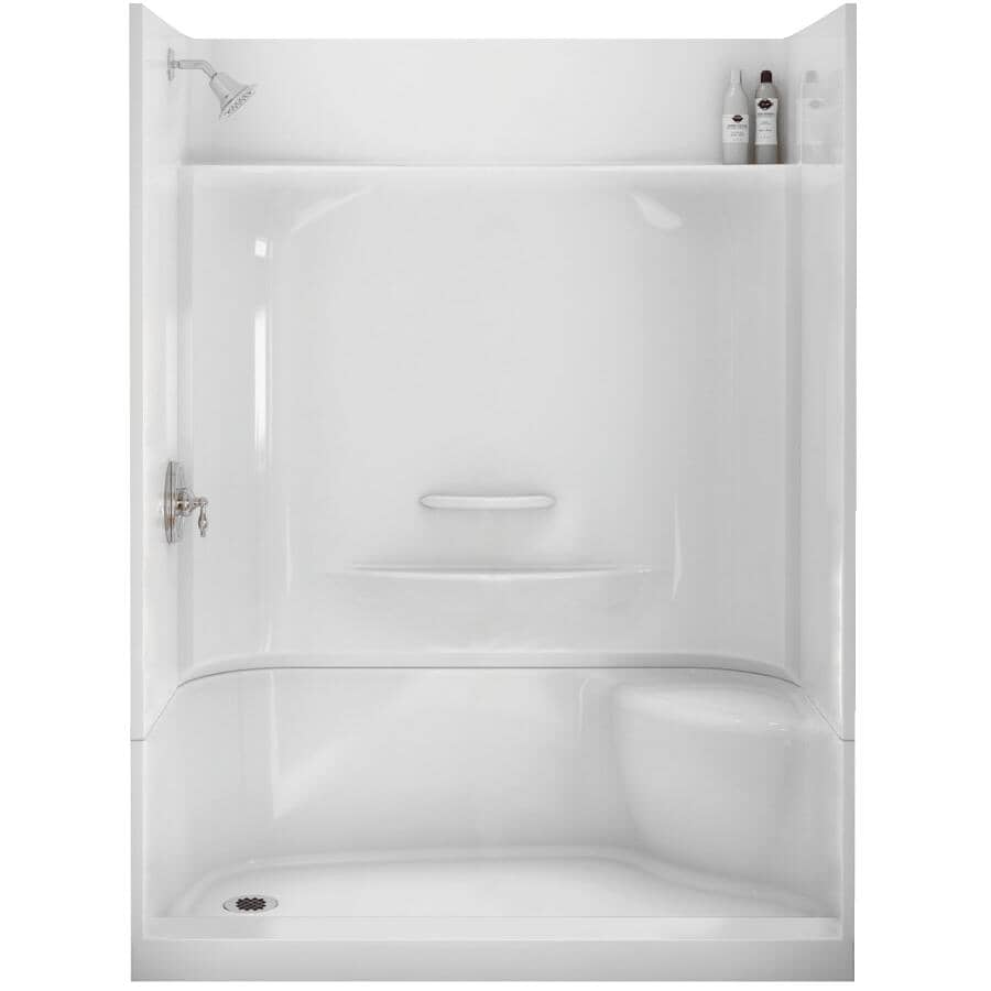 """MAAX:60"""" x 30"""" Essence 4 Piece Fiberglass Shower Cabinet - with Left Hand Drain & Right Seat, White"""