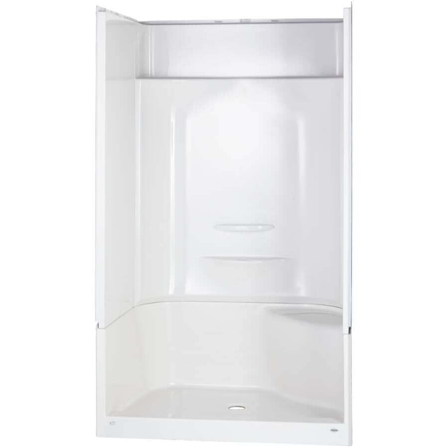 """MAAX:48"""" x 34"""" Essence 4 Piece Fiberglass Shower Cabinet - with Left Hand Fixtures & Right Hand Seat, White"""