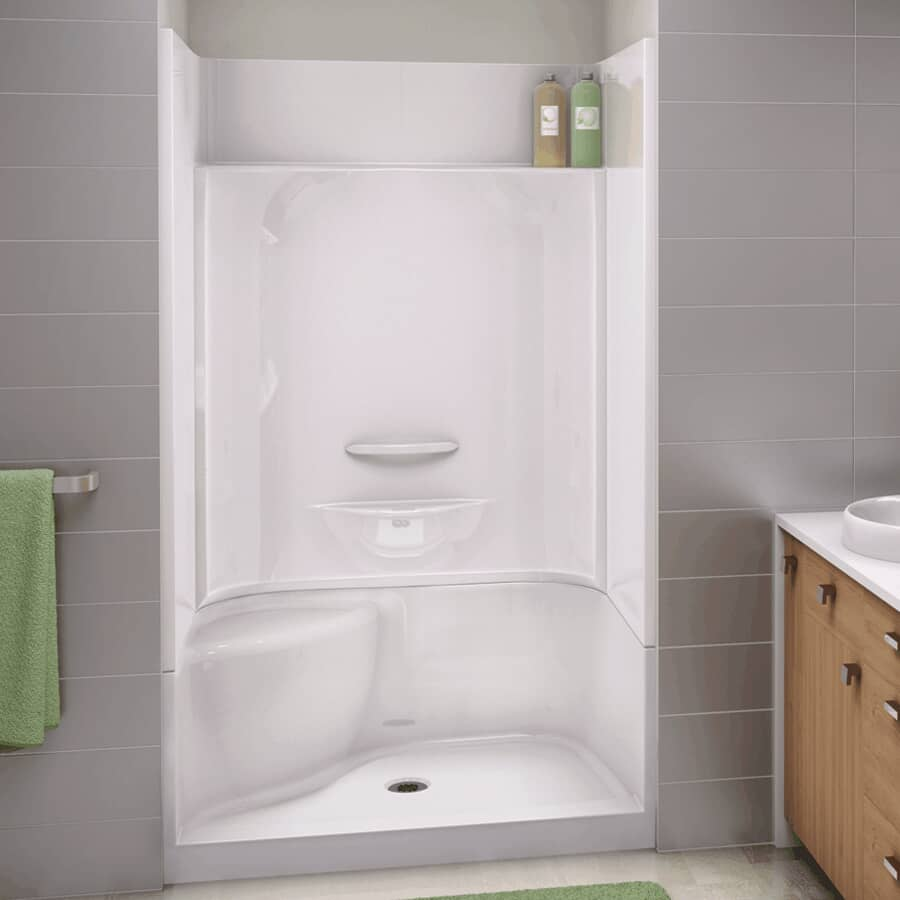 """MAAX:48"""" x 34"""" Essence 4 Piece Fiberglass Shower Cabinet - with Right Hand Fixture & Left Seat, White"""