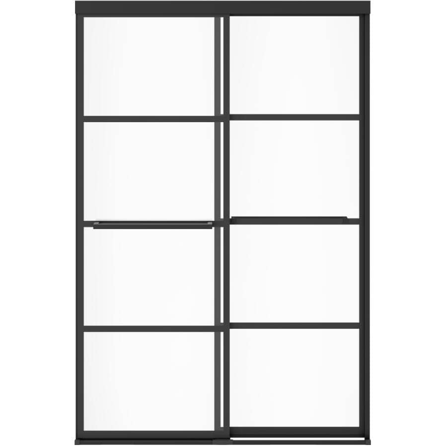 """MAAX:Incognito Shower Door - with Shaker Glass & Matte Black Trim, 56""""- 59"""""""