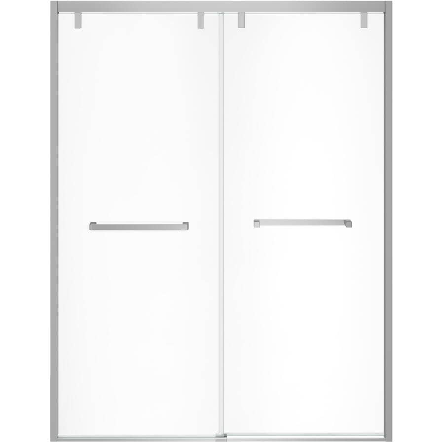 """MAAX:56""""- 59"""" Uptown Soft Close Shower Door - with Clear Glass and Chrome Trim"""