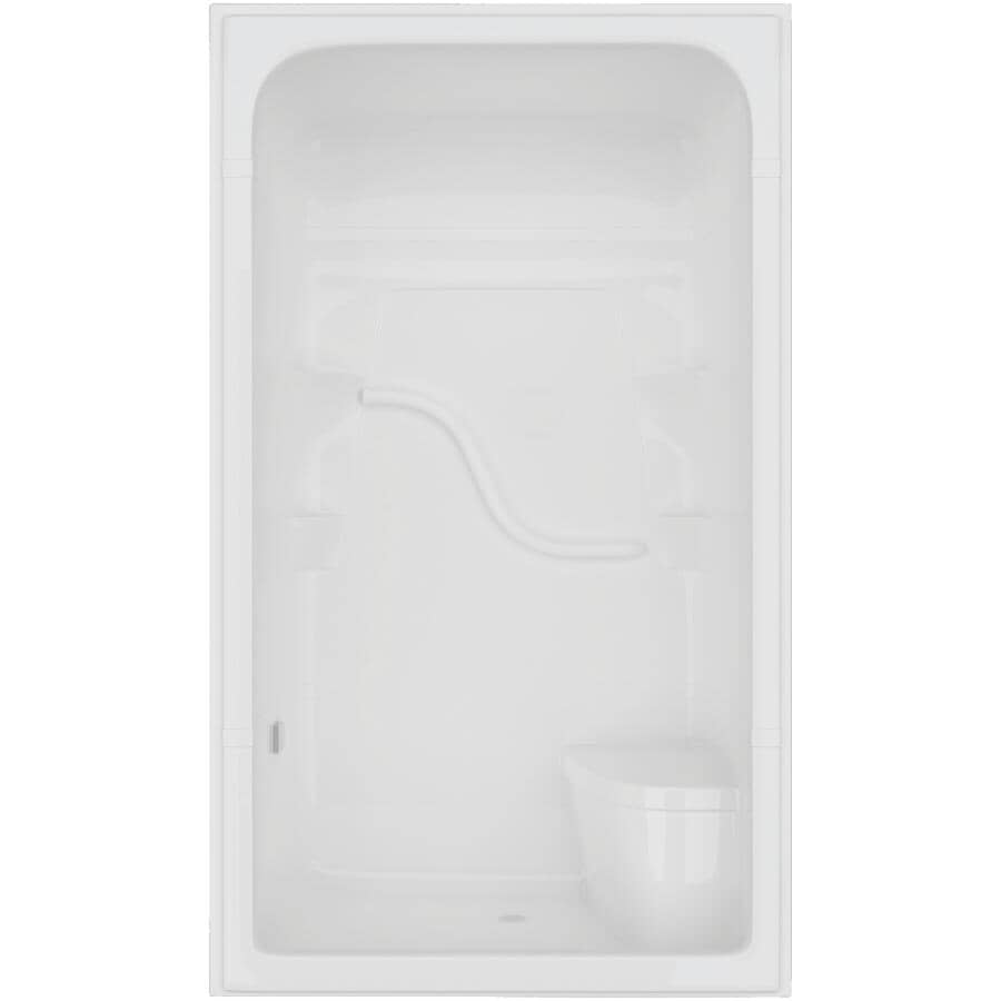 """MIROLIN:48"""" Madison4 1 Piece Acrylic Shower Cabinet - with Right Hand Plumbing & Left Seat, White"""