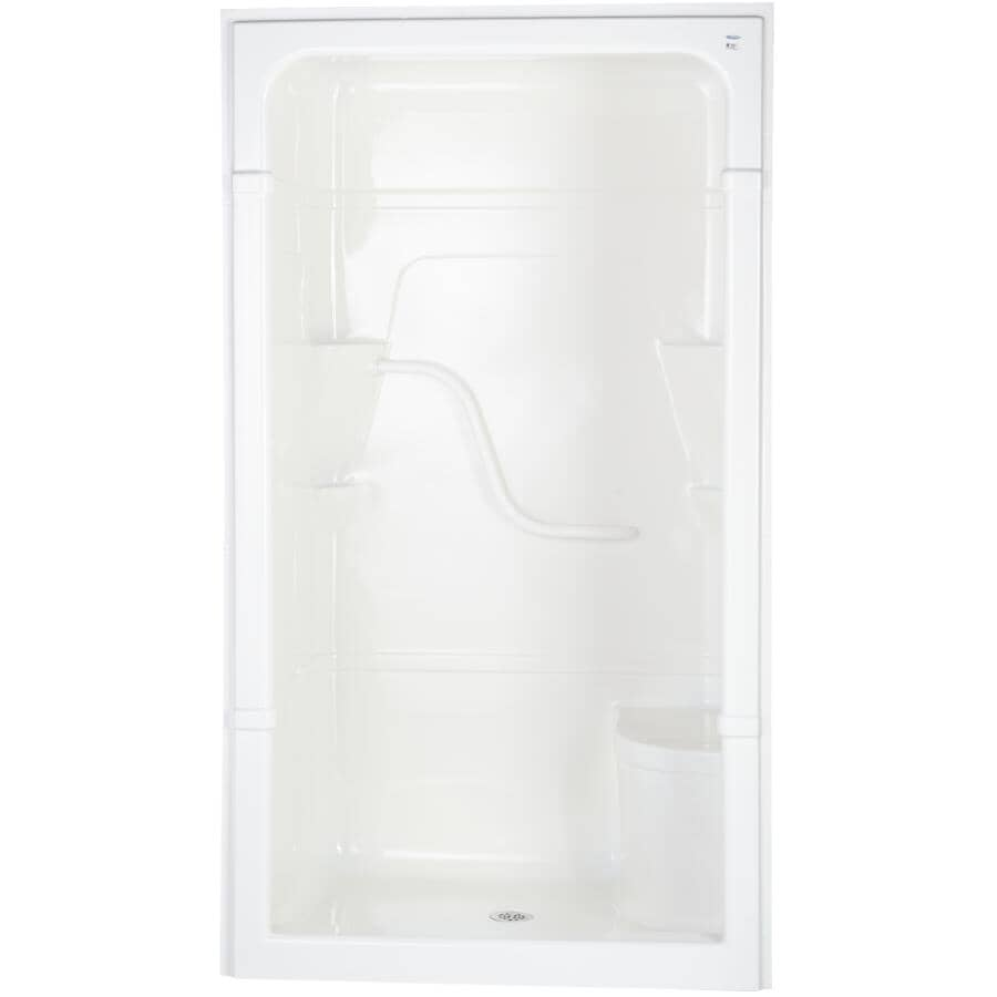 """MIROLIN:48"""" Madison4 1 Piece Acrylic Shower Cabinet - with Left Hand Plumbing & Right Seat, White"""