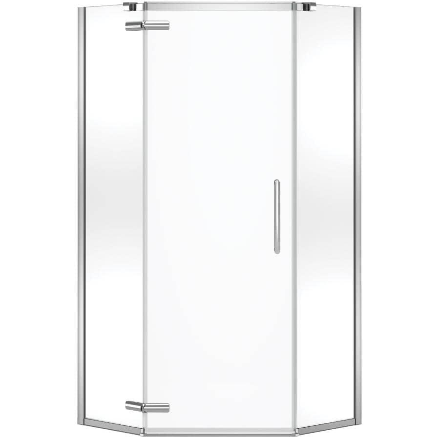 """MAAX:Hana Neo-Angle Shower Door - with Clear Glass & Chrome Trim, 38"""""""