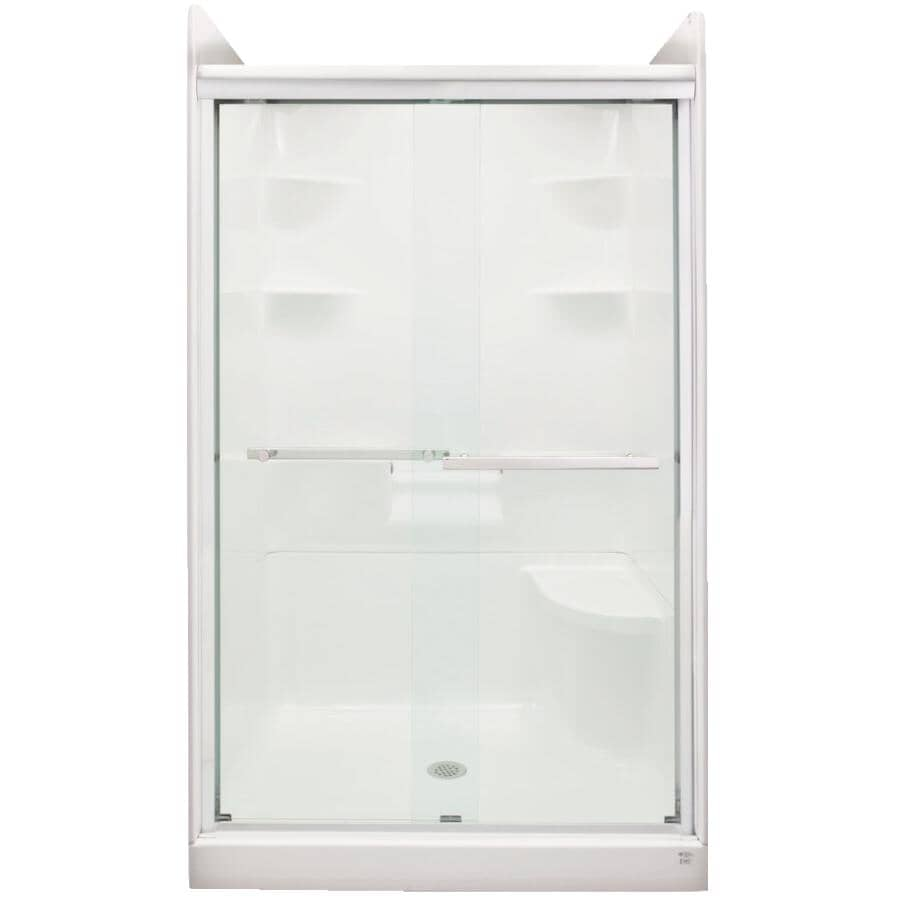 MIROLIN:2 Panel By-Pass Shower Door for Madison 5 Units F/SH5/53 - with Clear Glass & Silver Trim