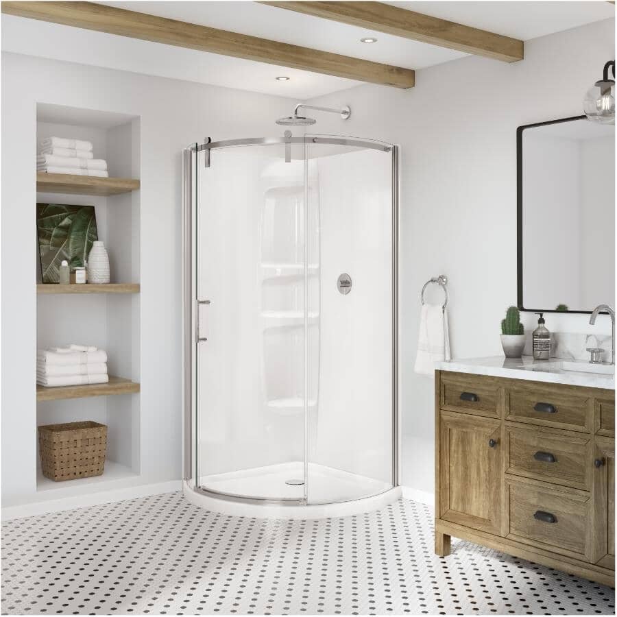 """MAAX:36"""" Outback Round Left Hand Shower Door & Base - with Clear Glass & Chrome Trim"""
