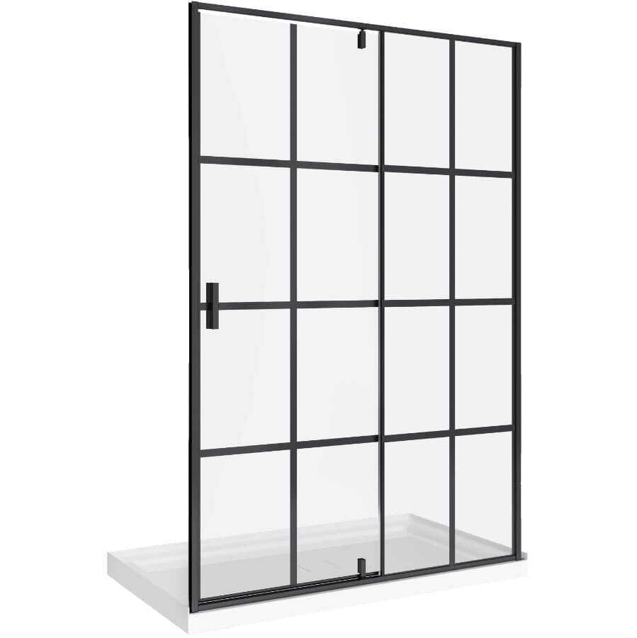 A&E BATH AND SHOWER:Maxime Pivot Shower Door and Base - Matte Black