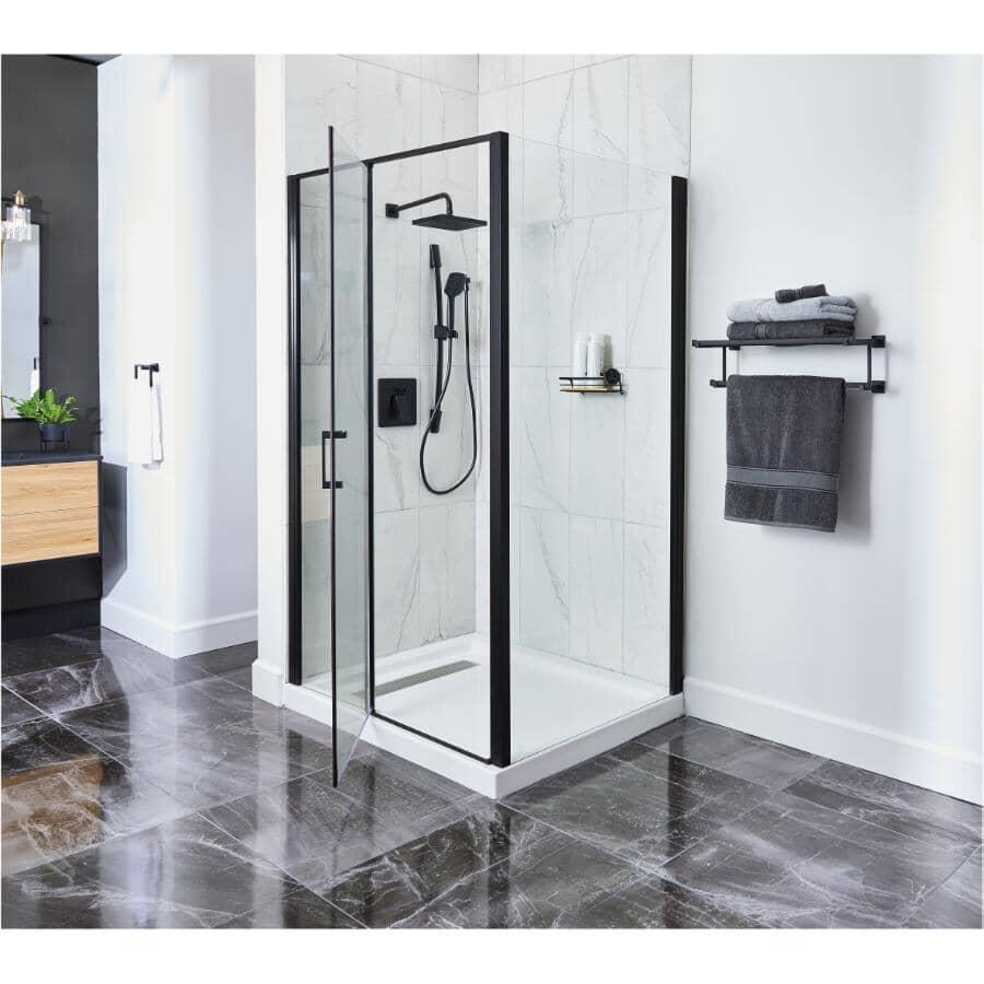 TECHNOFORM:Pandora Rectangular Shower Door with White Base - Clear Glass, Matte Black Trim