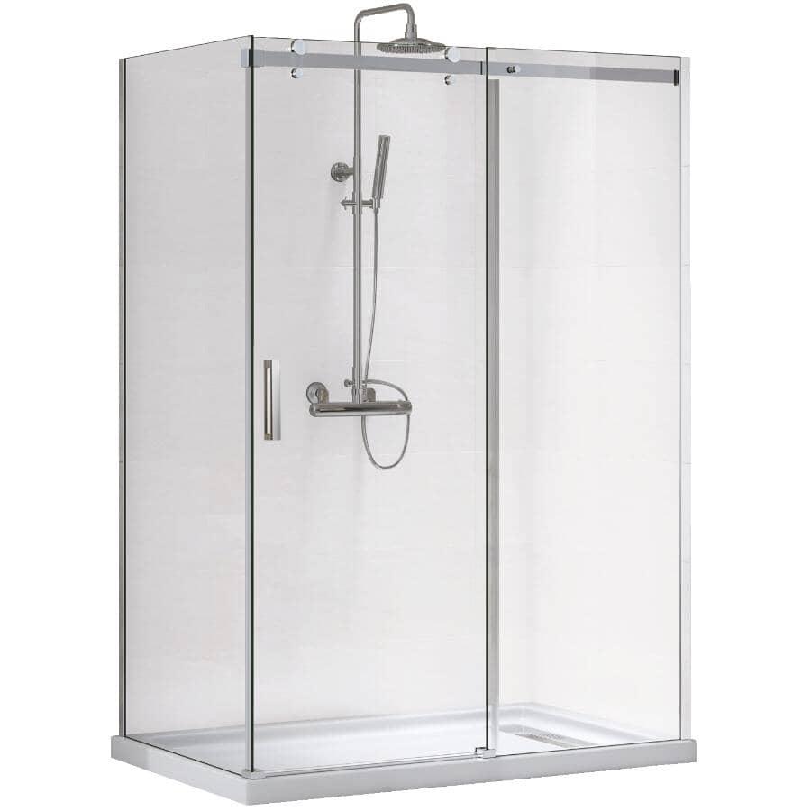 TECHNOFORM:Porte de douche rectangulaire Inspiration avec base blanche, verre transparent et garniture chromée