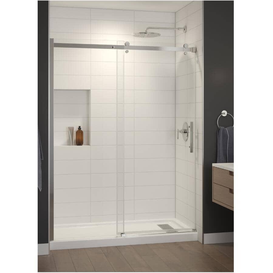 TECHNOFORM:Porte de douche en alcôve rectangulaire Inspiration avec base blanche, verre transparent et garniture chromée