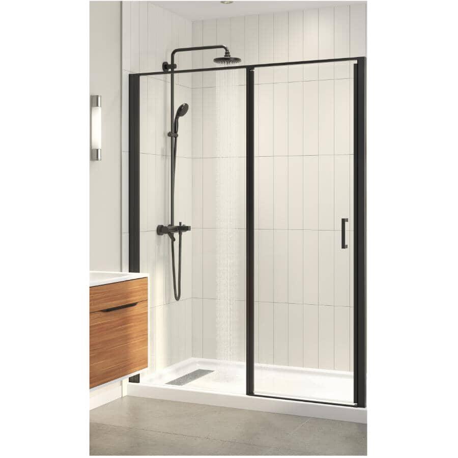 TECHNOFORM:Porte de douche en alcôve rectangulaire Pandora avec base blanche, verre transparent et garniture noir mat