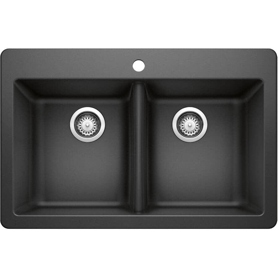 "BLANCO:31 1/2"" x 20 1/2"" x 8"" Silgranit Double Drop-In Kitchen Sink - Anthracite"