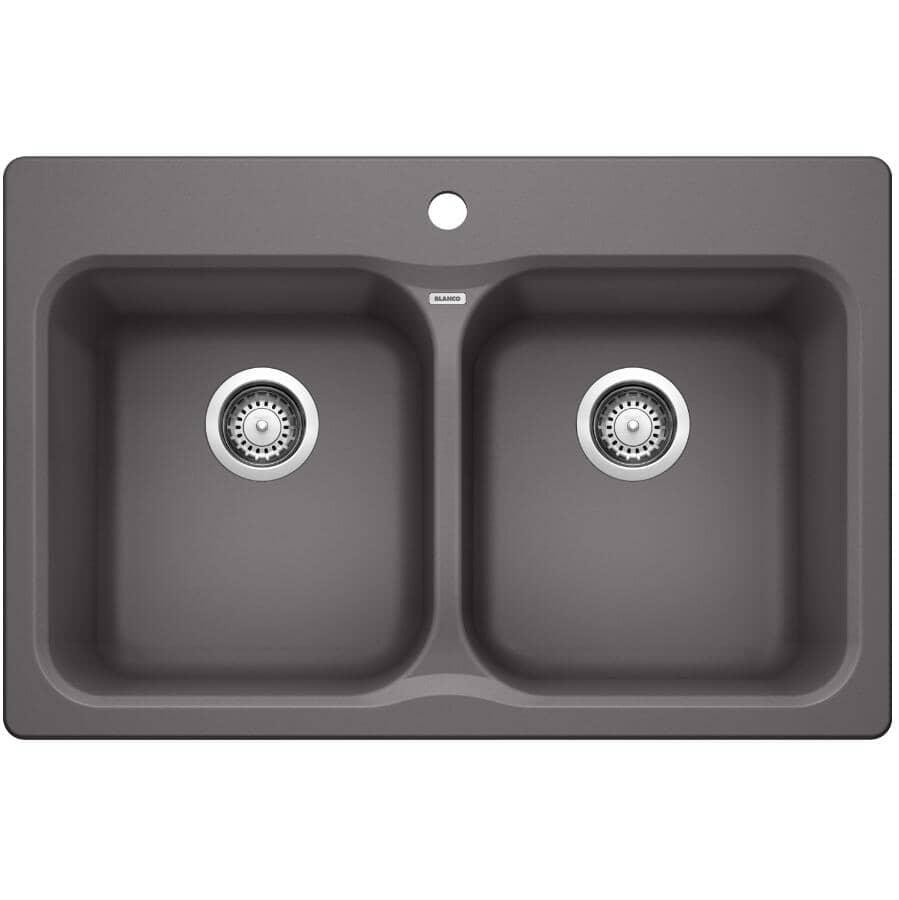 """BLANCO:31 1/2"""" x 20 1/2"""" x 8"""" Silgranit Double Drop-In Kitchen Sink - Cinder"""