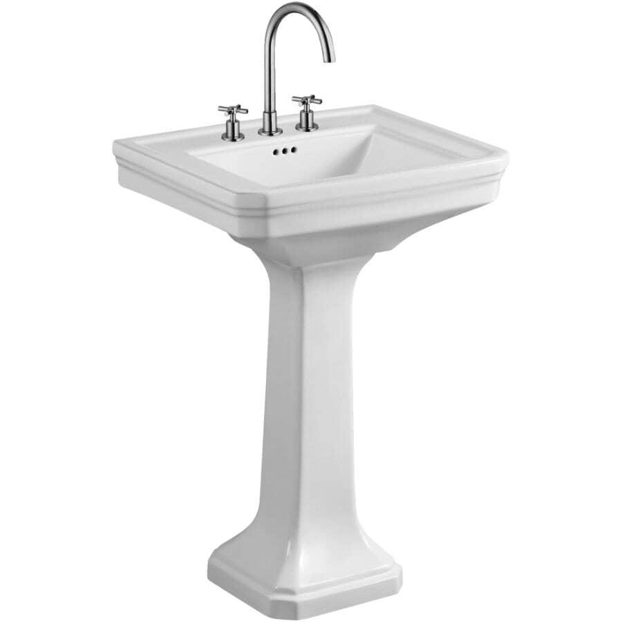 """CHELINI:19"""" x 24"""" Rio Rectangular Pedestal Basin - White"""
