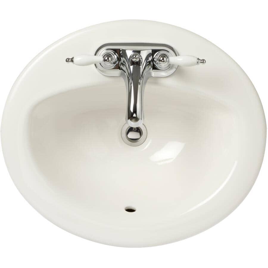 """CHELINI:Desoto Oval Drop-In Basin - White, 20"""" x 17"""""""