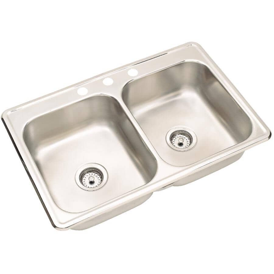 """WESSAN:31"""" x 20.5"""" x 7"""" Double Stainless Steel 3 Hole Kitchen Sink, with Ledge"""
