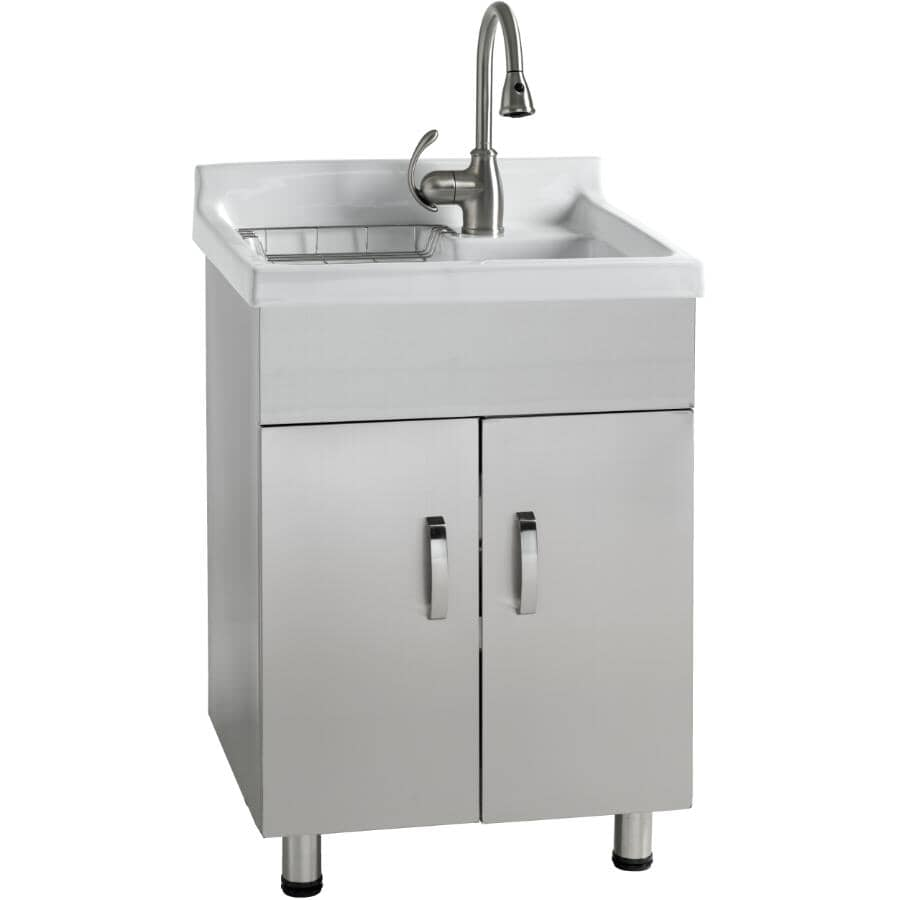 GENERIC:Laundry Cabinet with White Ceramic Sink - Stainless Steel