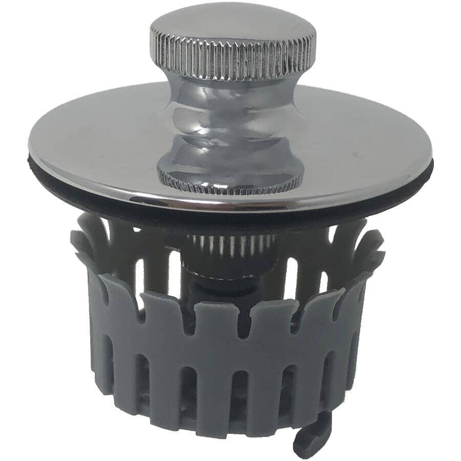 DRAIN BUDDY:Chrome Bathtub Hair Catcher Drain Plug, with Additional Basket