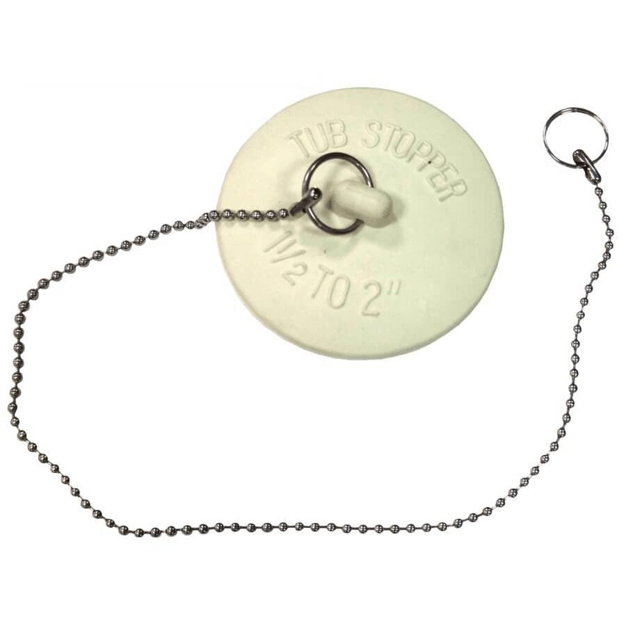 Fit-all bathtub stopper with chain