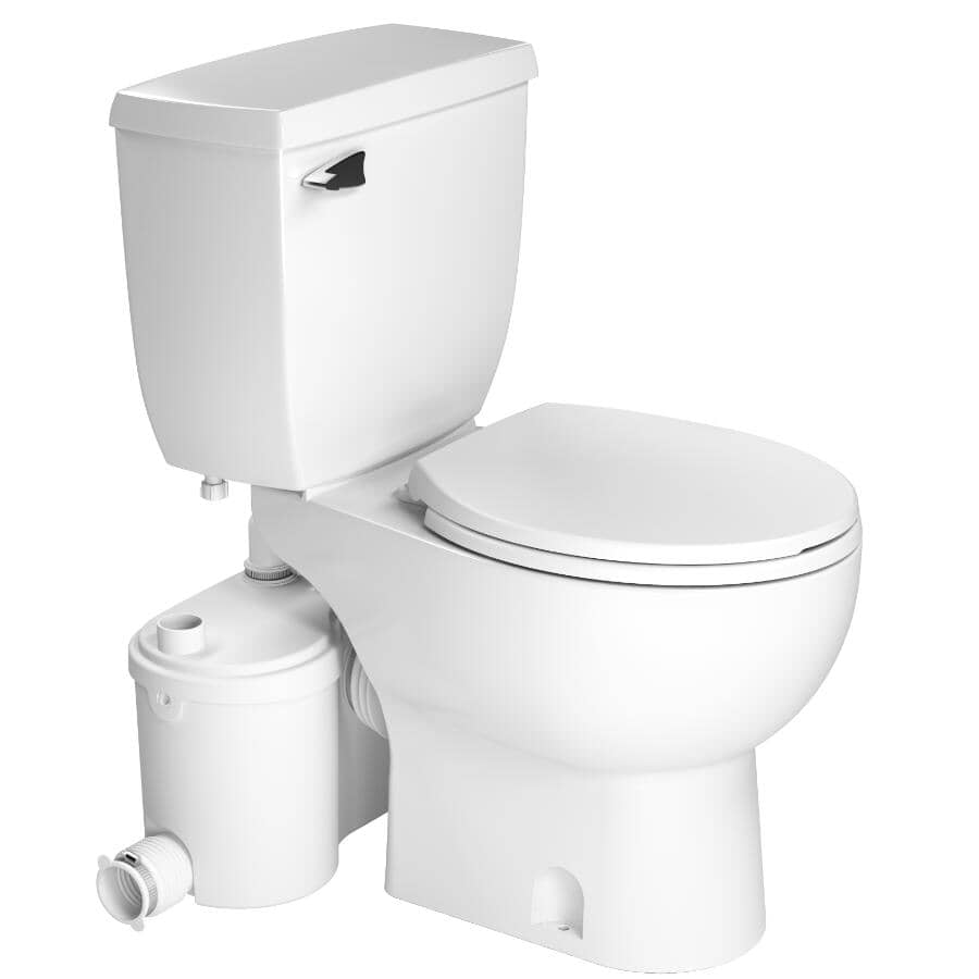 """SANIFLO:4.8 L Sanibest Pro Round Toilet with Pump - 16.75"""" Accessible Height, White"""