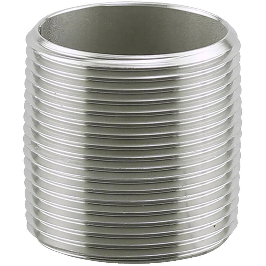 "PLUMB-EEZE:1-1/4"" x Close Stainless Steel Nipple"