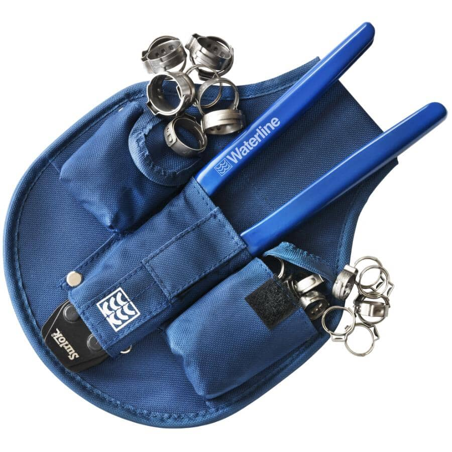 """WATERLINE PRODUCTS:1/2"""" and 3/4"""" Surlok """"Clinch Clamp"""" Ratchet Tool, with Belt Holster + 30 Clamps"""