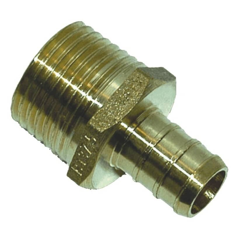 """WATERLINE PRODUCTS:1/2"""" PEX  x 1/2"""" MPT Brass Adapter - 25 Pack"""