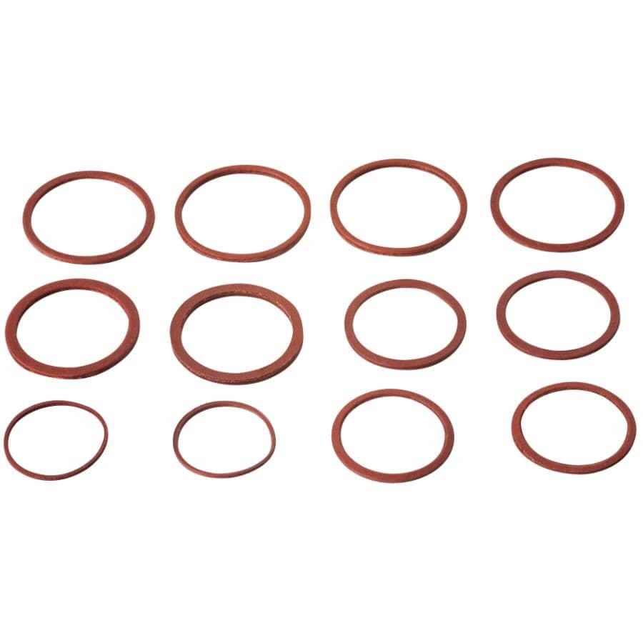MOEN:12 Pack Fibre Faucet Gaskets, Assorted Sizes