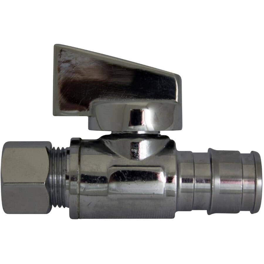 """COLDX:1/2"""" Cold-X Expansion PEX Barb Inlet x 3/8"""" Compression Outlet Brass Straight Valve"""