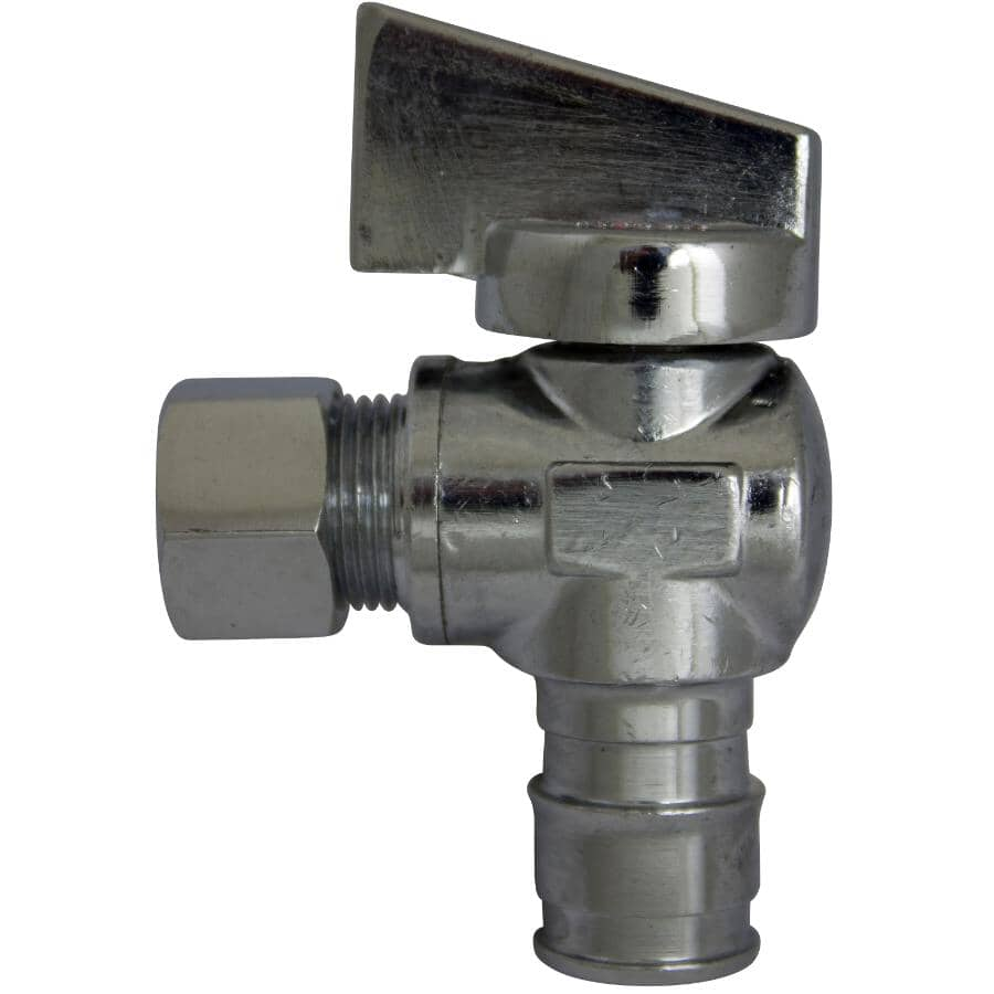 """COLDX:1/2"""" Cold-X Expansion PEX Barb Inlet x 3/8"""" Compression Outlet Brass Angle Valve"""