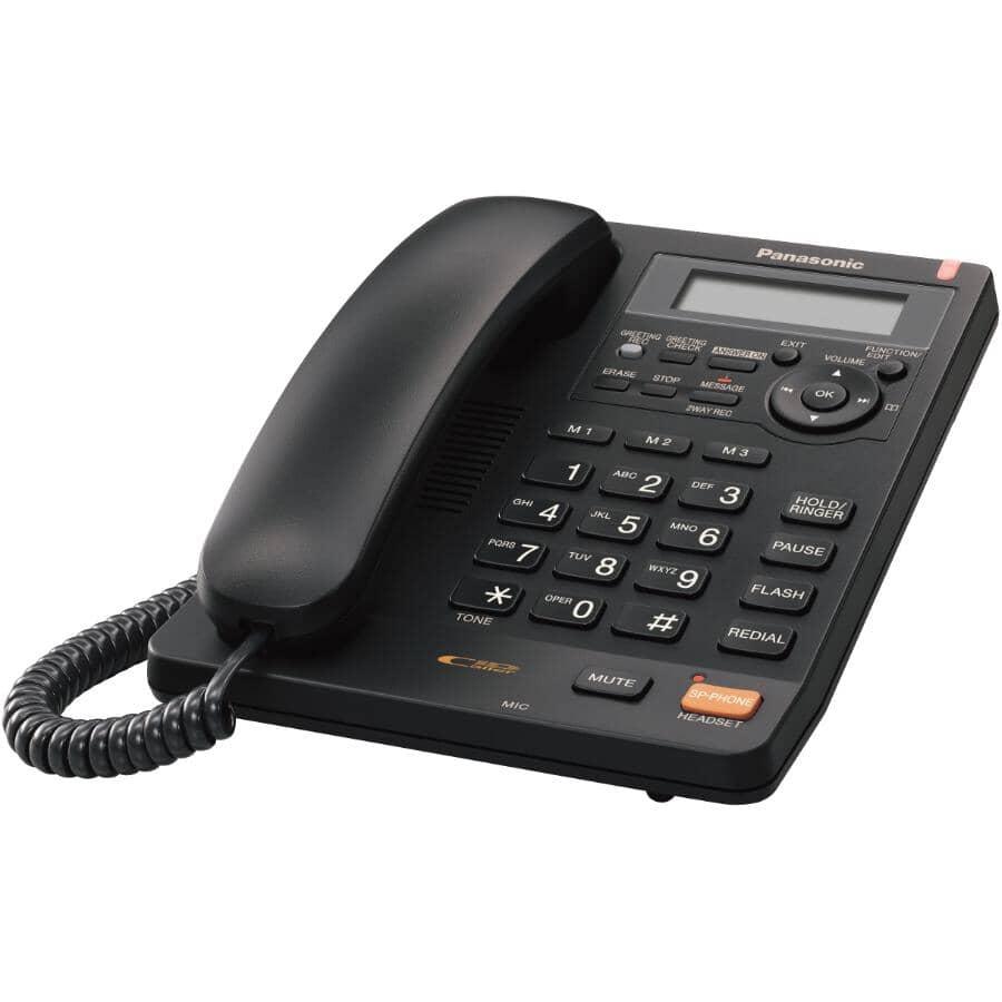 PANASONIC:Téléphone noir avec fil intégré et répondeur (KXTS620) avec grosses touches