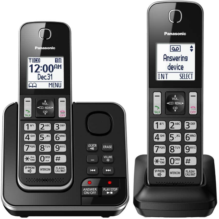 PANASONIC:Paquet de 2 téléphones sans fil DECT 6.0 avec répondeur (KXTGD392B)