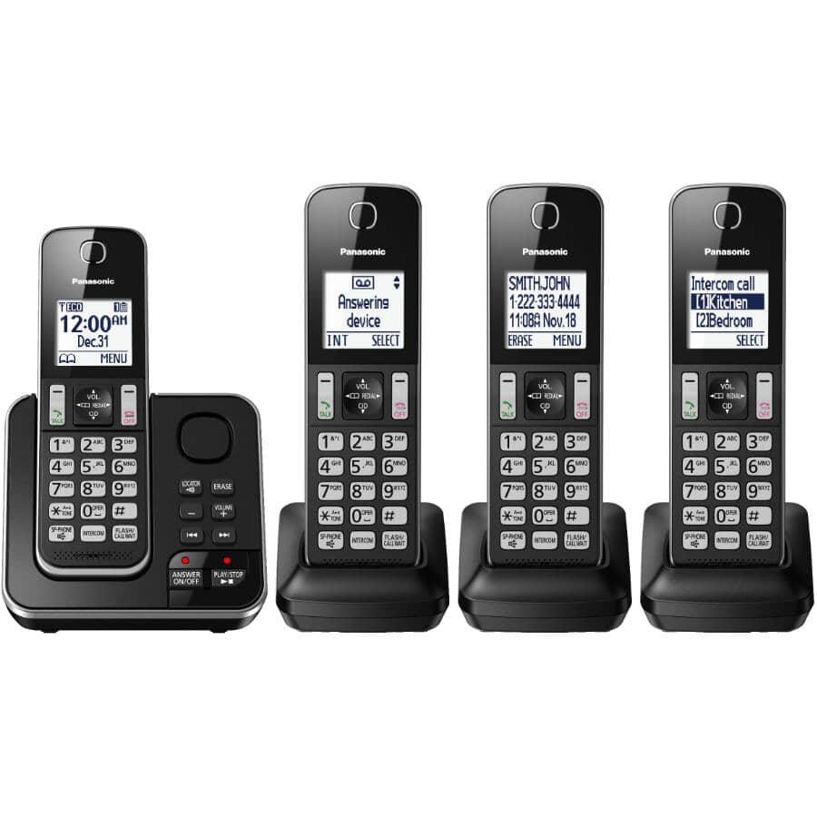 PANASONIC:Paquet de 4 téléphones sans fil DECT 6.0 avec répondeur (KXTGD394B)
