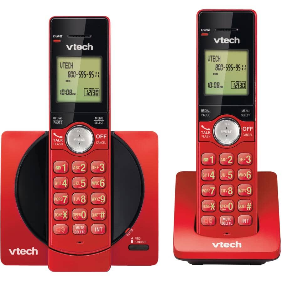 V-TECH:2 Pack Red Dect 6.0 Cordless Phones, with Caller Identification