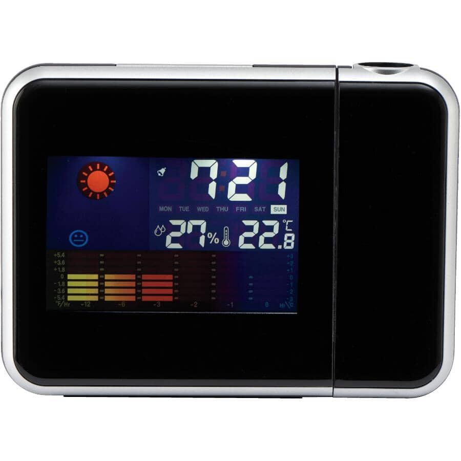 RCA:Réveil noir avec projecteur de l'heure intégré