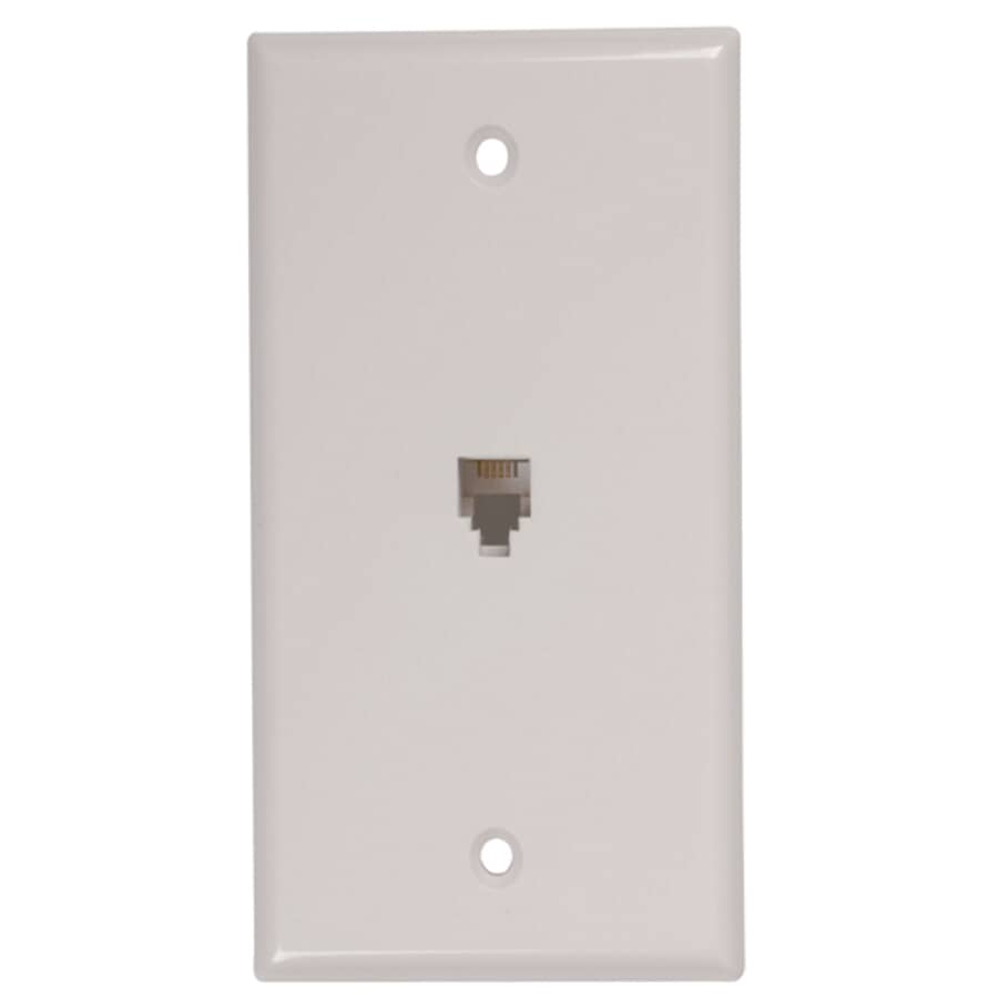 RCA:Modular Phone Wall Plate - with 4 Conductors, White