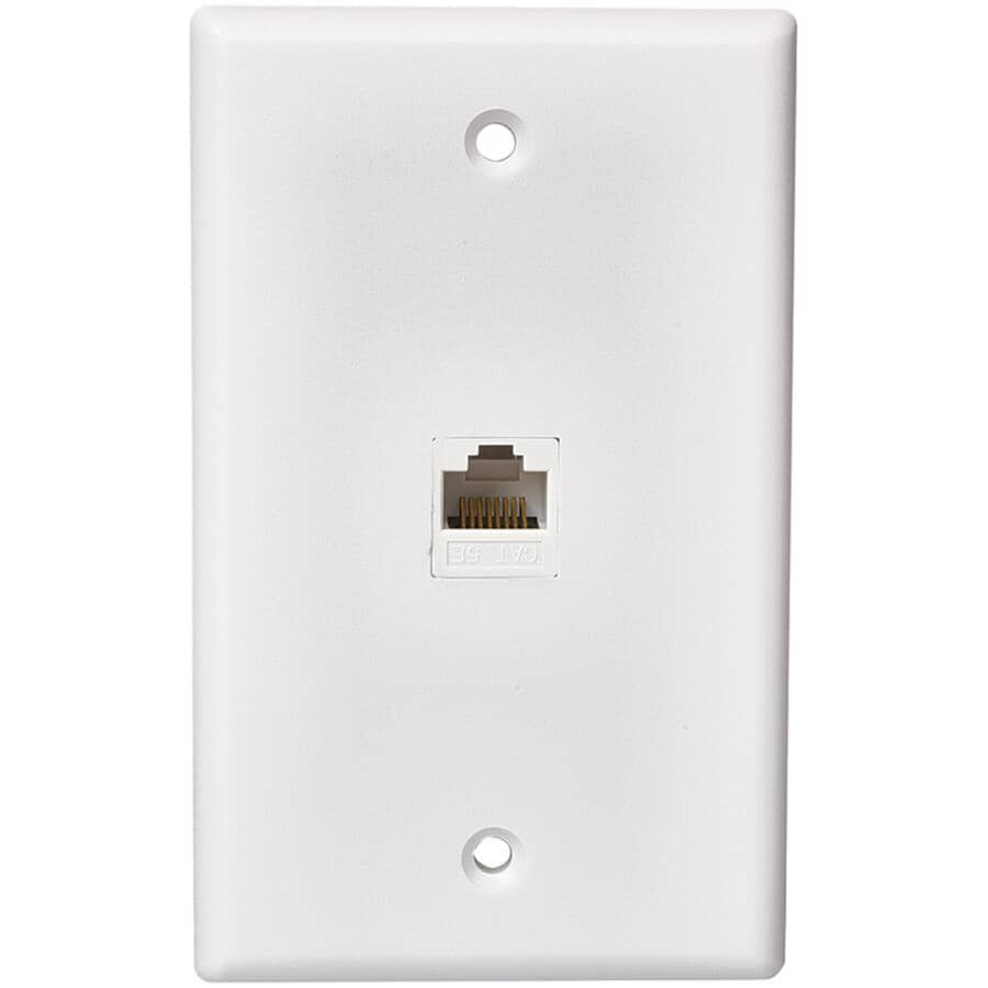 RCA:CAT5E / CAT6 Modular Phone Wall Plate - White