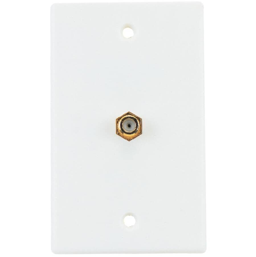 RCA:Coaxial Cable Wall Plate - with Single Connector, White
