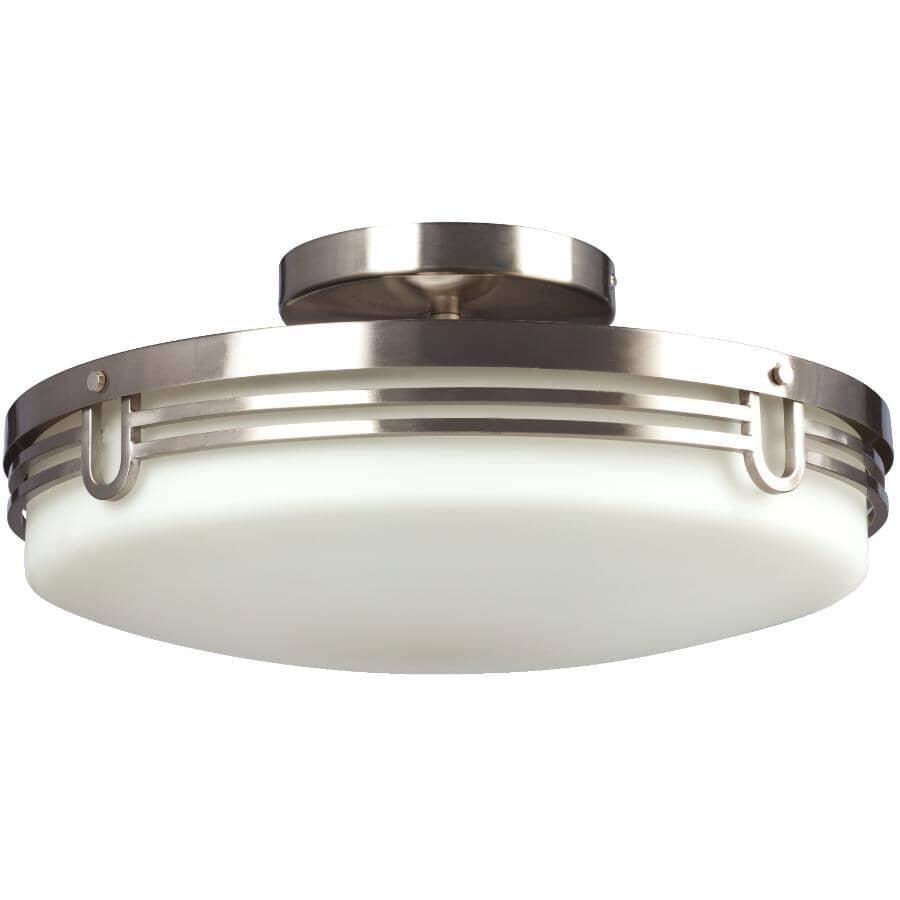 GALAXY:Plafonnier semi-affleurant à 2 lampes de la collection Aurora avec verre blanc