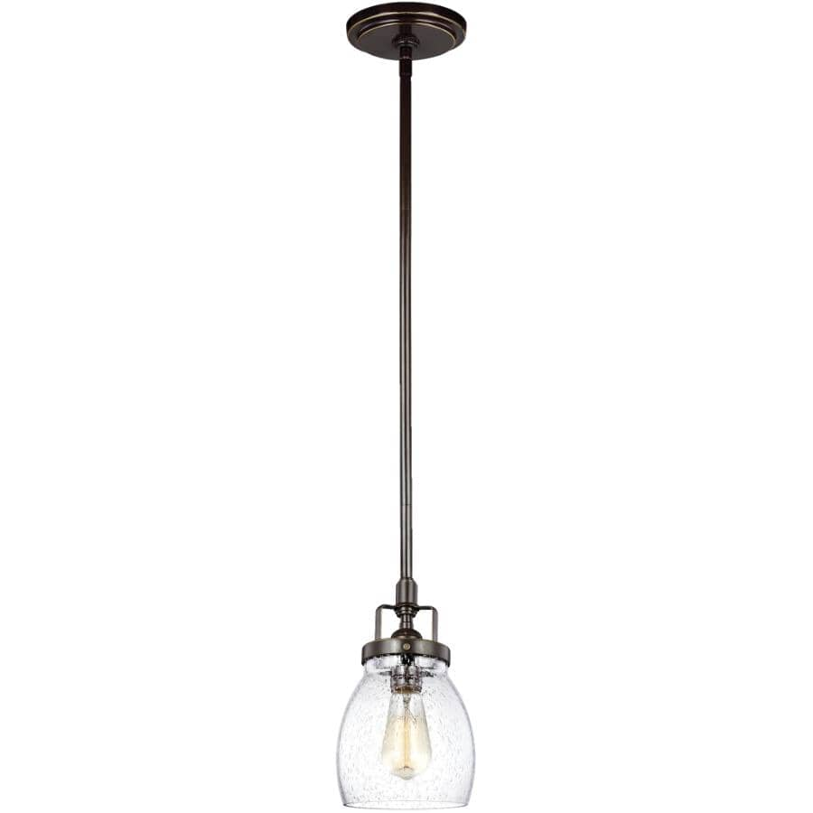 SEA GULL:Belton 1 Light Brushed Nickel Pendant Light Fixture, with Seeded Glass