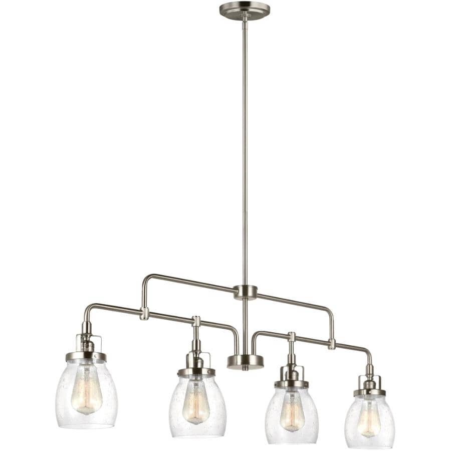 SEA GULL:Belton 4 Light Brushed Nickel Pendant Light Fixture, with Seeded Glass