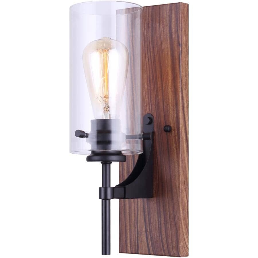 CANARM:Arlie 1 Light Matte Black and Brown Faux Wood Vanity Light Fixture, with Clear Glass Shade