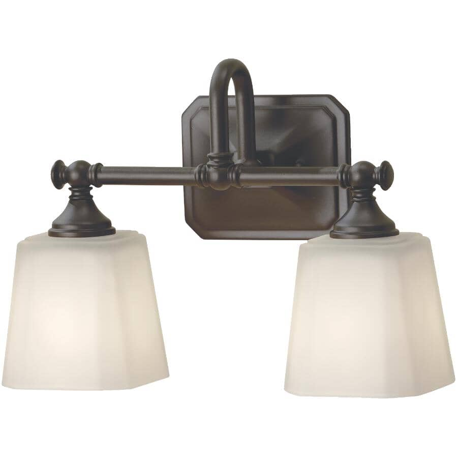 FEISS:Concord 2 Light Oil Rubbed Bronze Vanity Light Fixture, Opal Glass