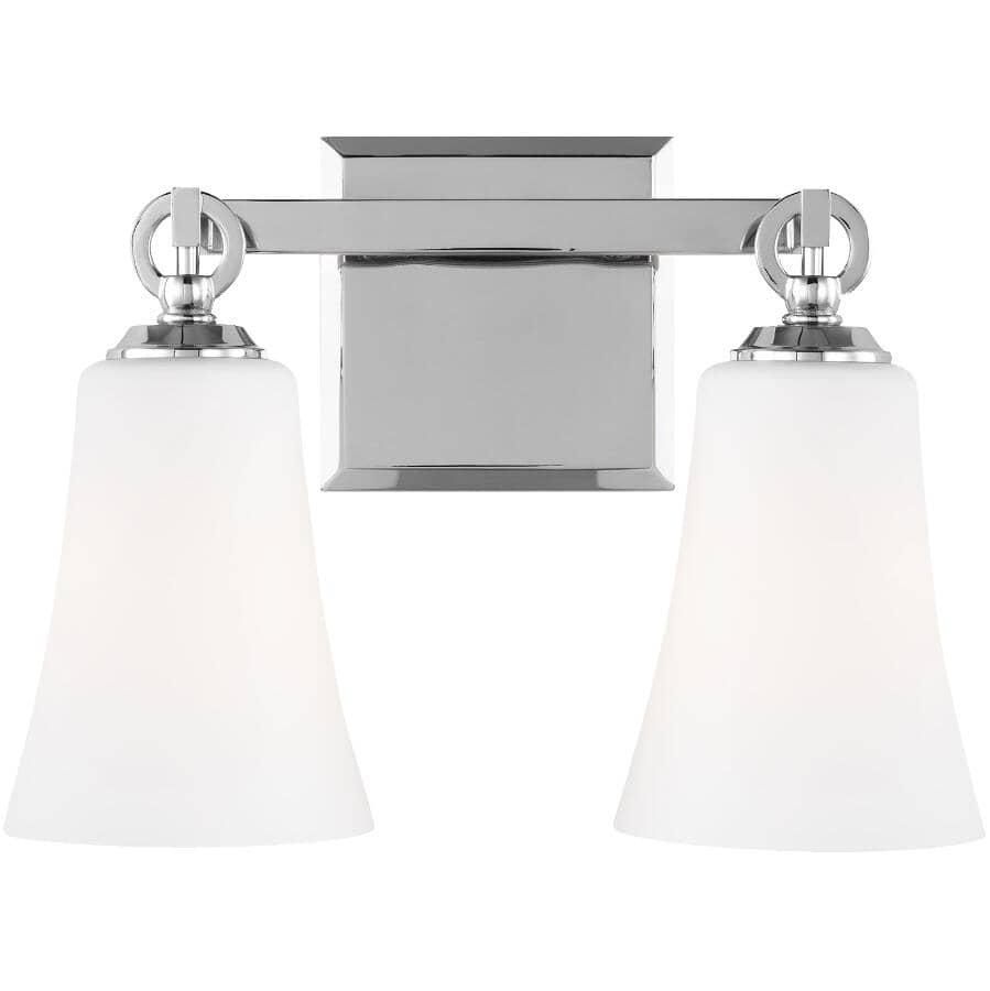 FEISS:Monterro 2 Light Chrome Vanity Light Fixture, Opal Glass