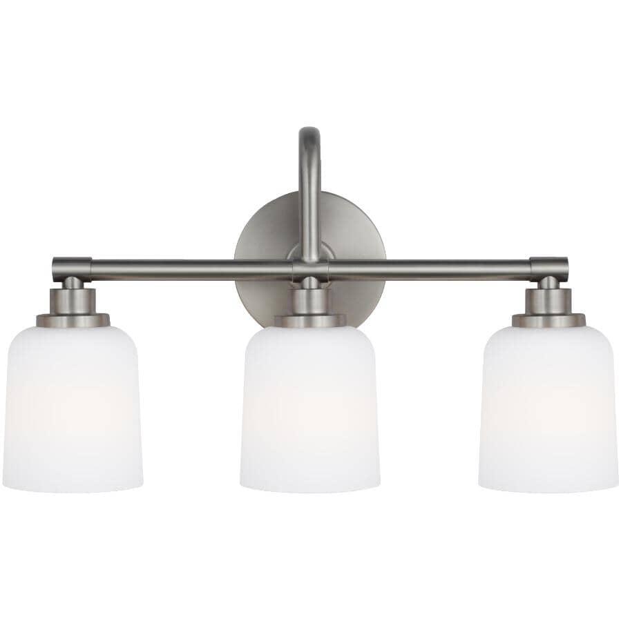 FEISS:Reiser 3 Light Satin Nickel Vanity Light Fixture, Opal Glass