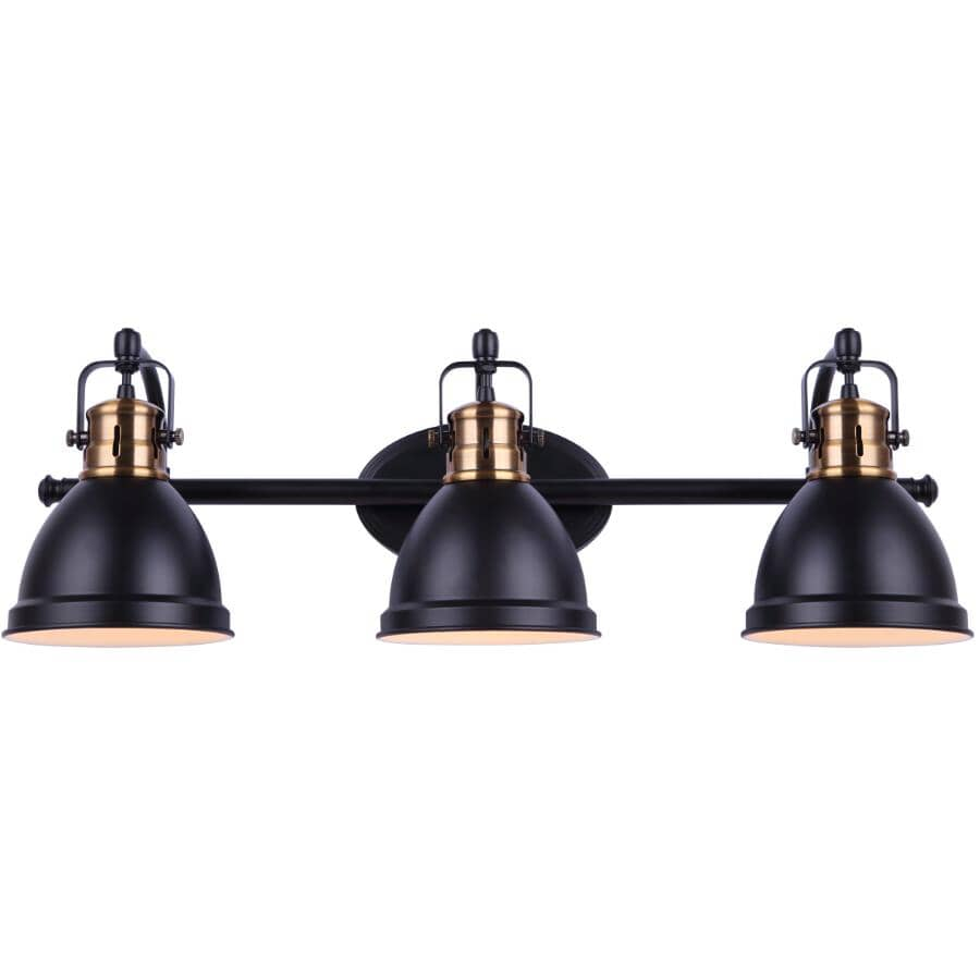 SCOTT MCGILLIVRAY:Winslow Vanity Light Fixture - 3 Light, Matte Black & Gold