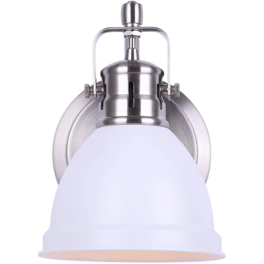 SCOTT MCGILLIVRAY:Winslow Vanity Light Fixture - 1 Light, Brushed Nickel & Matte White