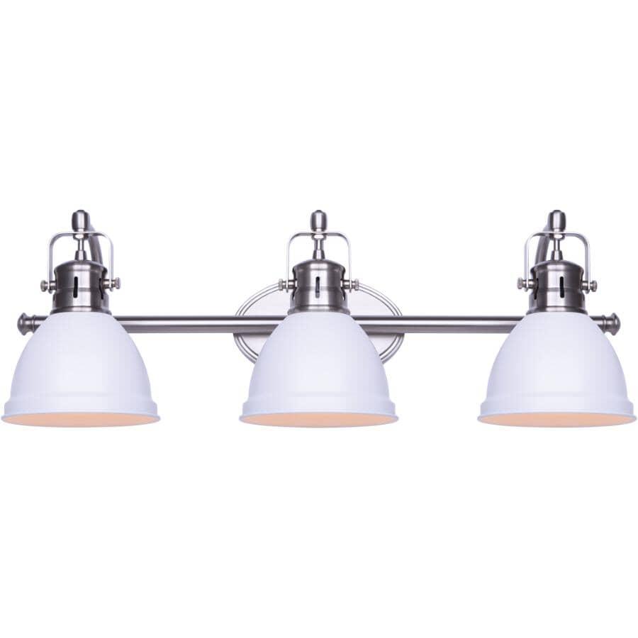 SCOTT MCGILLIVRAY:Winslow Vanity Light Fixture - 3 Light, Brushed Nickel & Matte White