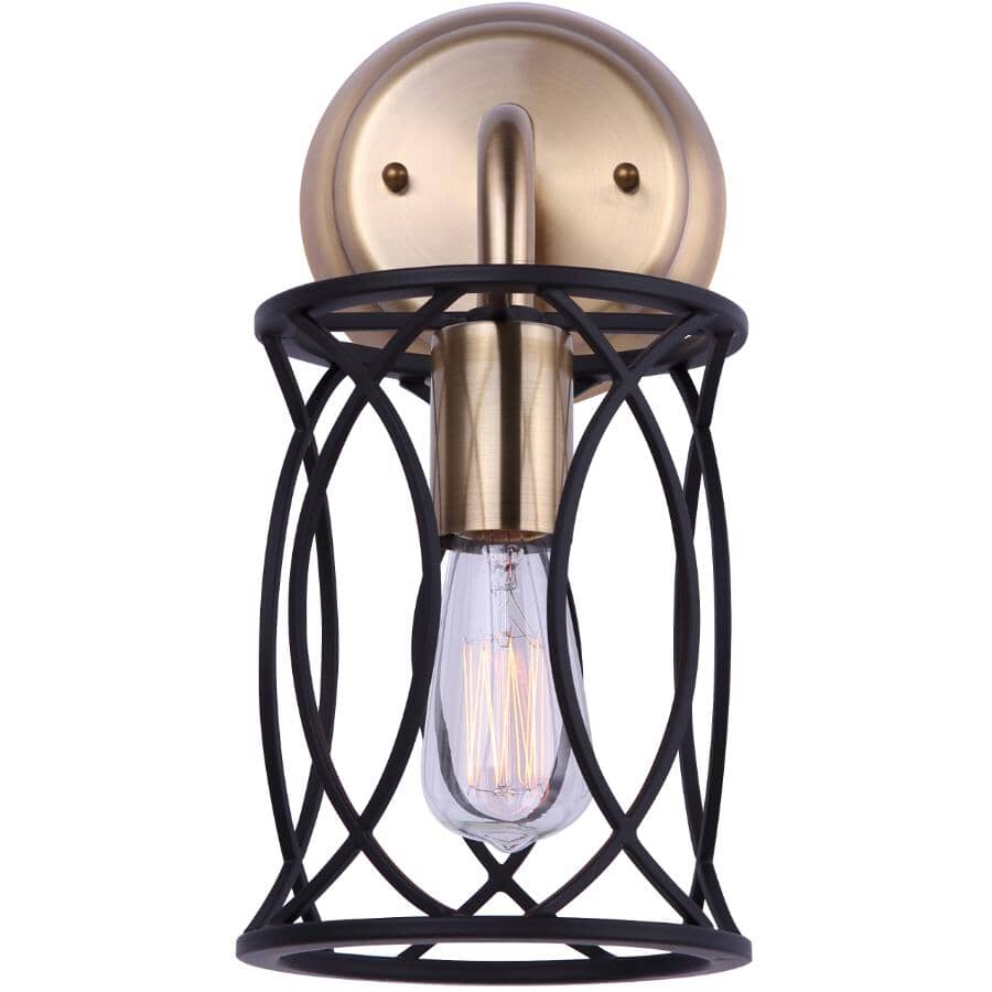 SCOTT MCGILLIVRAY:Alton Vanity Light Fixture - 1 Light, Matte Black & Gold